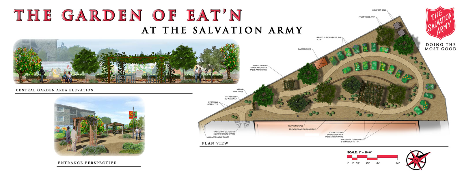 Rendering of proposed garden at the Salvation Army