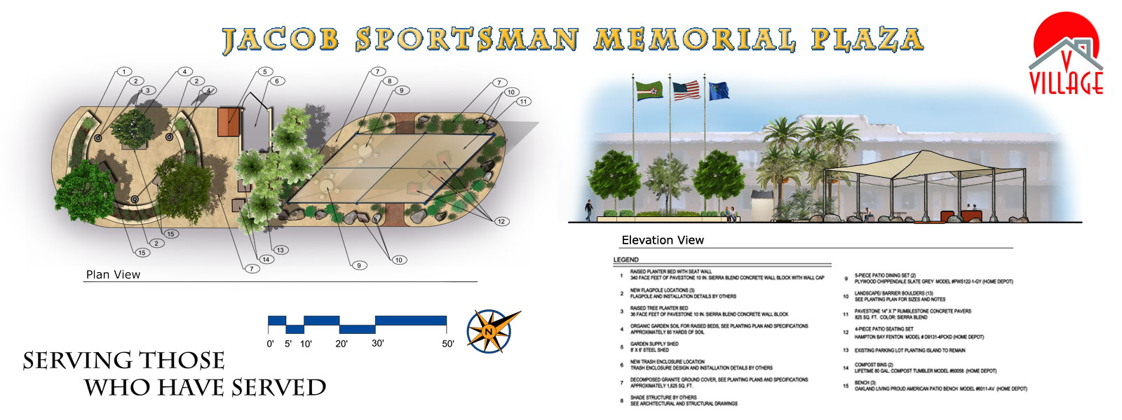 Rendering of the Jacob Sportsman Memorial Plaza at Veteran's Village