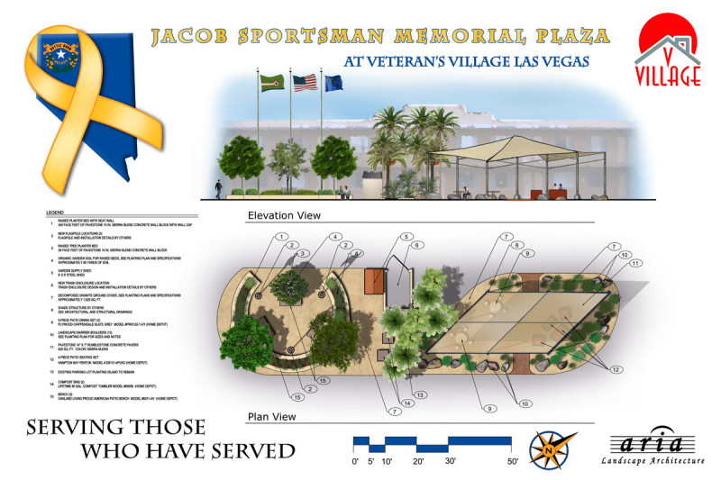 rendering of Veteran's Village Memorial Plaza
